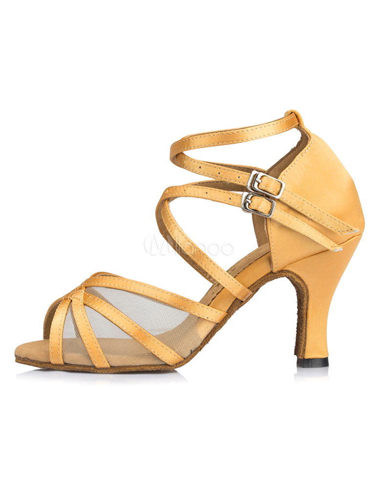 Buy Yellow Latin Dance Sandals Ankle Strap Satin Ballroom Heels for Women for $28.79 in Milanoo store