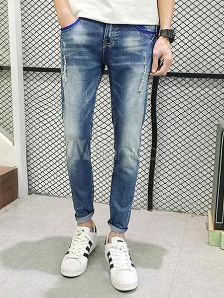 blaue distressed jeans baumwoll skinny jeans f r m nner. Black Bedroom Furniture Sets. Home Design Ideas