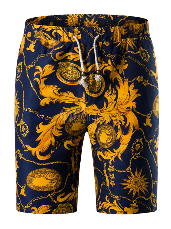 Men Beach Shorts Floral Print Capri Shorts Drawstring Shorts Cotton