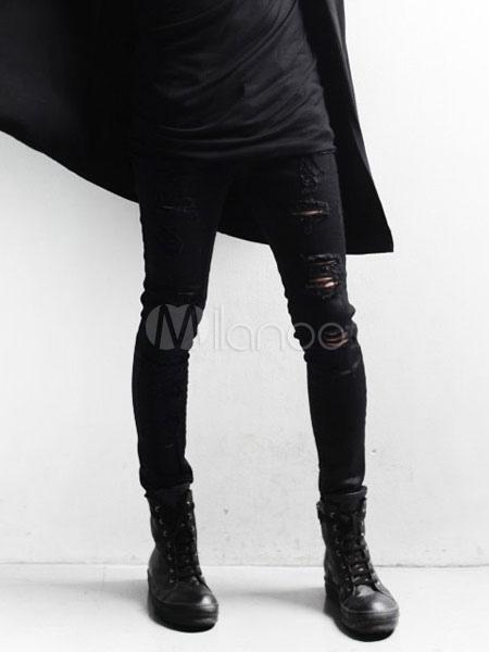 Negro Afligidos Algodon Moda Jeans Rotos Pitillo Para Hombres Milanoo Com