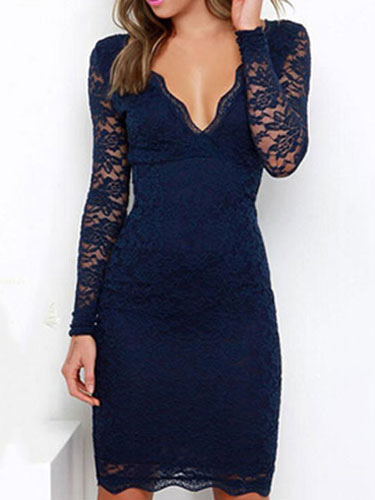 Lace Dress Long Sleeve V Neck Slim Fit Sexy Dress Low Back Bodycon Dress Cheap clothes, free shipping worldwide