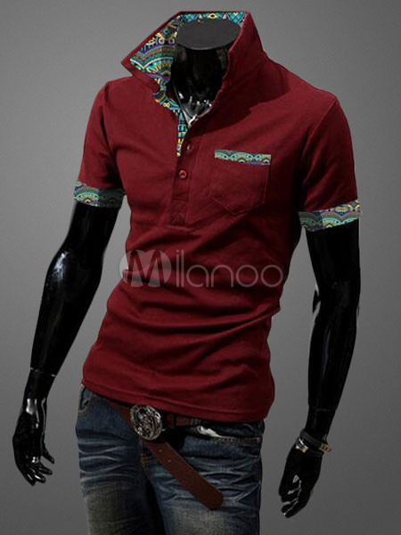 Red Short Sleeve Polo Shirt Print Slim Fit Men's T-Shirt