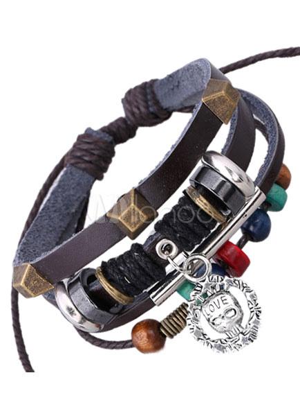 Multicolor Layered Bracelet Beaded Faux Leather Bracelet for Men