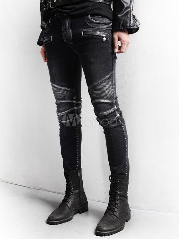 schwarze distressed jeans baumwoll skinny jeans f r m nner. Black Bedroom Furniture Sets. Home Design Ideas
