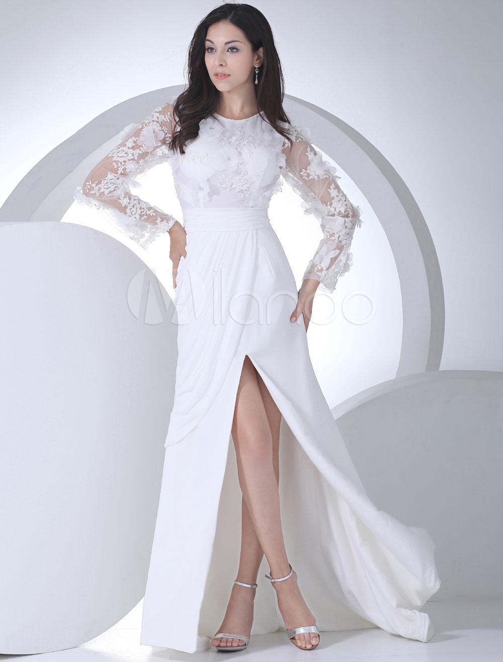 Sheath Wedding Dress Jewel Flower Rhinestone Sleeve Lace Chiffon Pleated Splits Chaple Train Bridal Dress