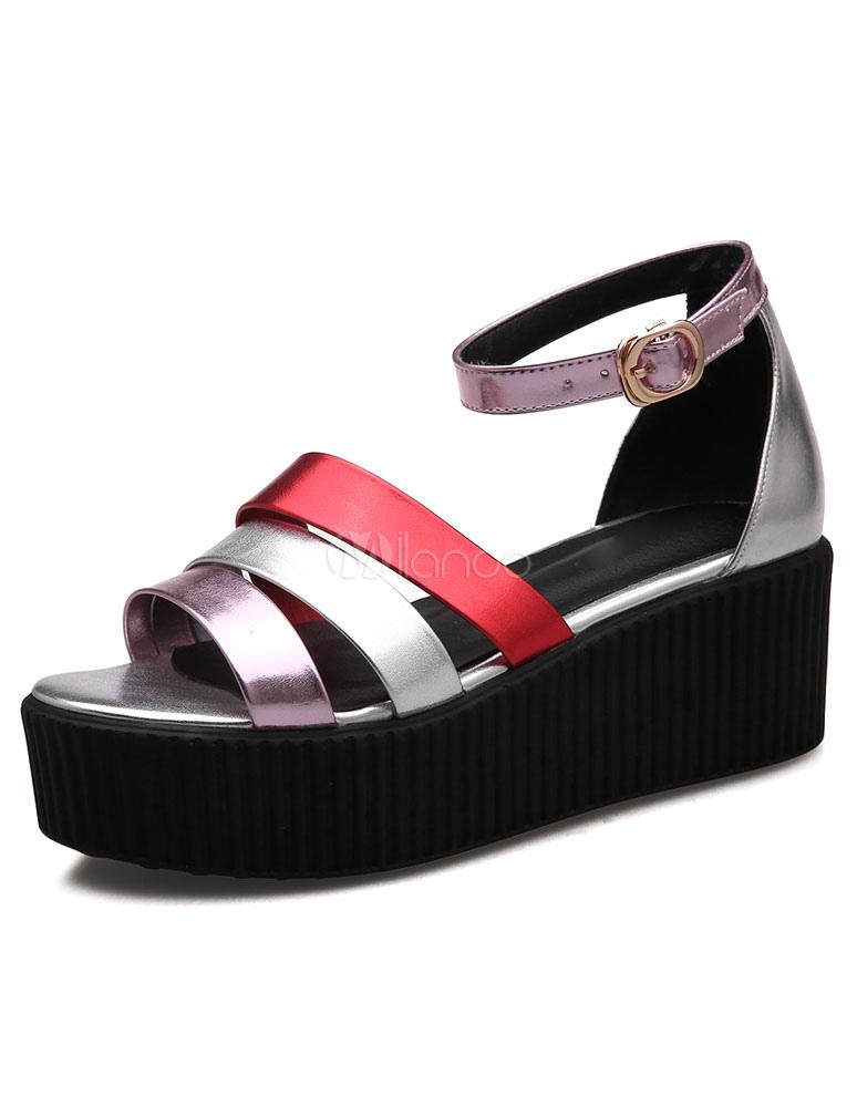 Sangles de sandales plate-forme multicolore carreaux PU talons pour  femmes-No.1 ...