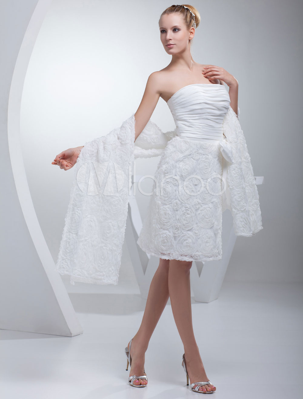 Milanoo / Reception Wedding Dress Strapless Pleated Sash Bow Lace Flower Short Length Sheath Bridal Dress