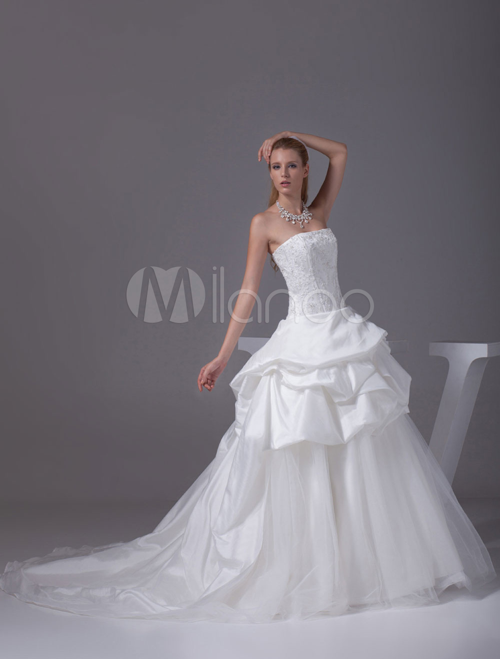 Buy Organza Ball Gown Strapless Beading Lace Applique Satin Pleated Chaple Train Bridal Dress for $170.99 in Milanoo store