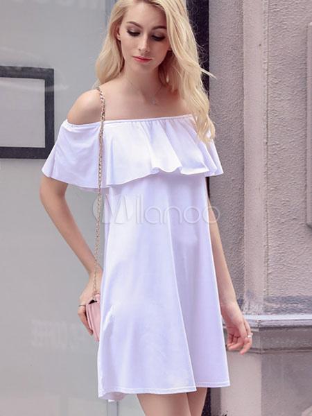 98370bc01 ... Vestido blanco de verano de Off-The-hombro volantes vestido de  poliester-No ...