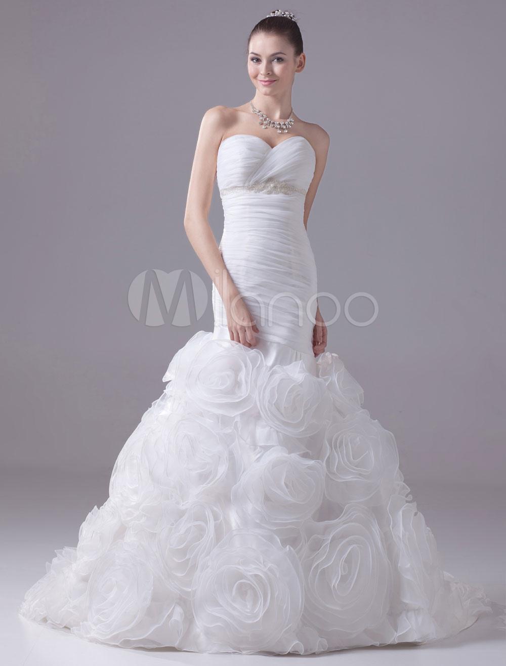Mermaid Wedding Dress Sweatheart Pleated Beading Organza Flower Chaple Train Bridal Dress