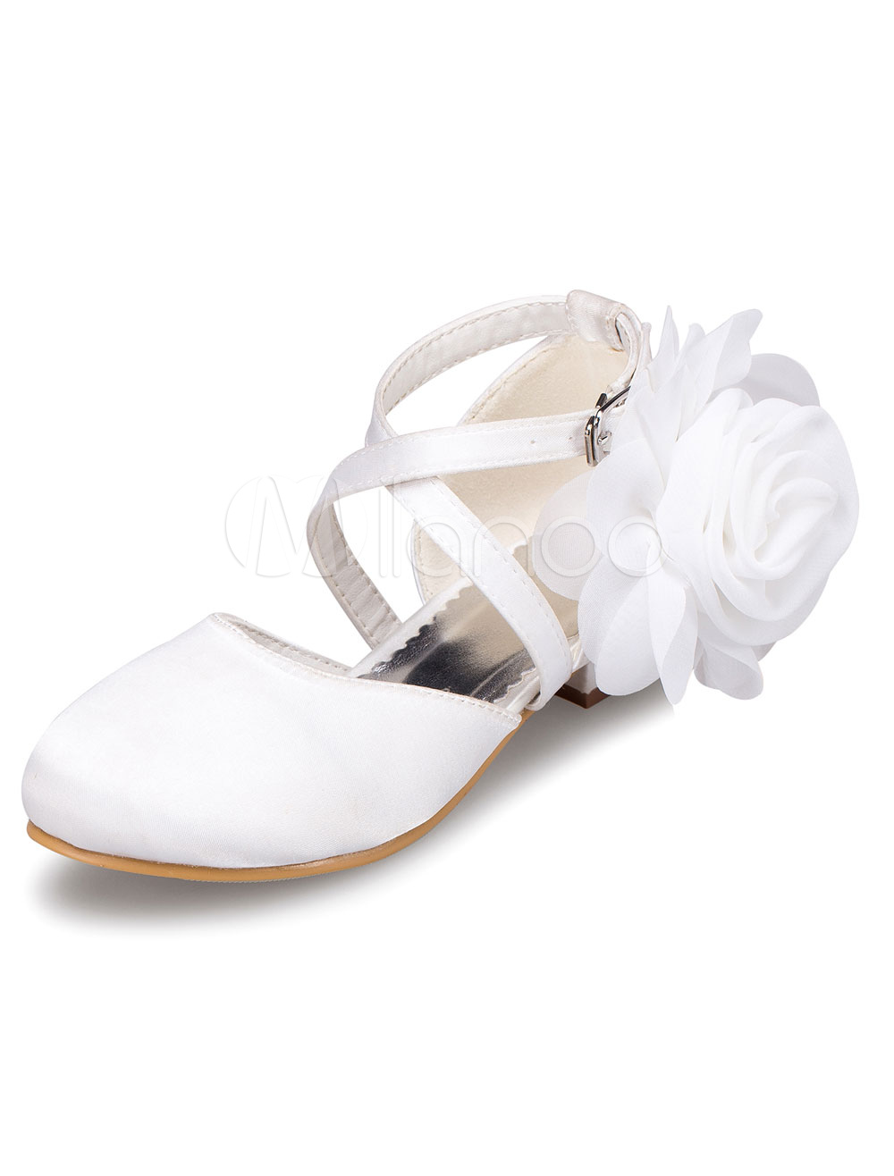 White Flower Girl Shoes Flowers Straps Satin Shoes For Girls