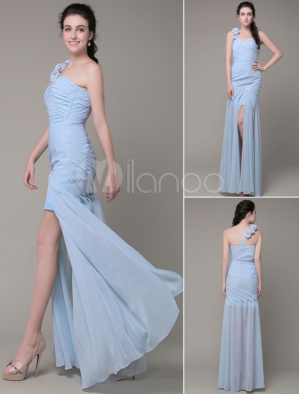Buy Long Prom Dresses One-Shoulder Lace Flower Chiffon Pleated Beading Slipts Floor-Length Sheath Evening Dress Milanoo for $172.79 in Milanoo store