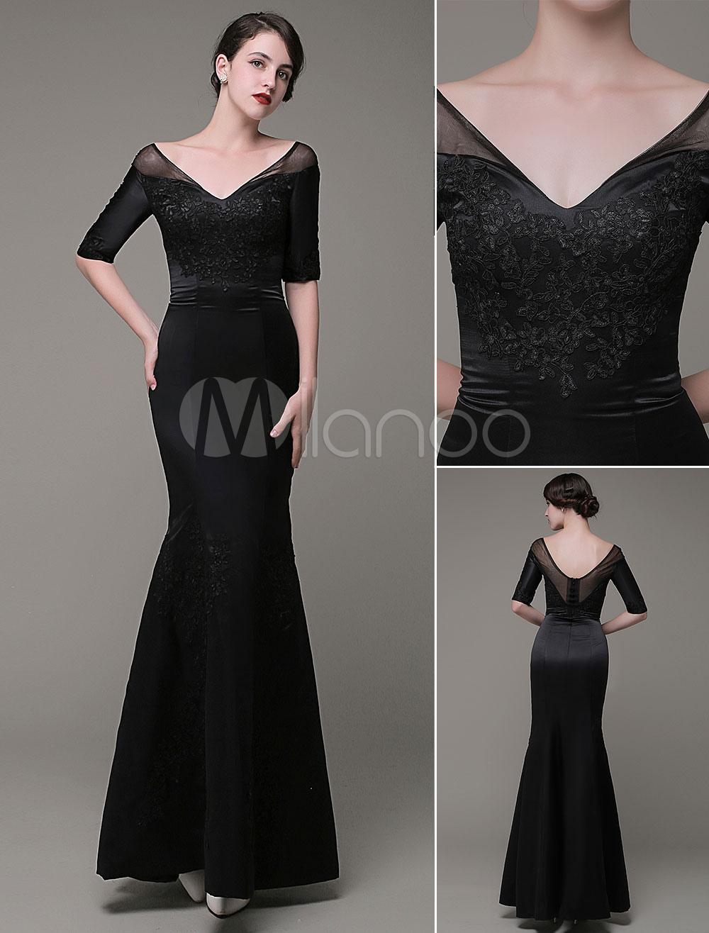 Mother Of The Bride Dresses Illusion V-Neck Lace Applique Floor Length Meimaid Evening Dress Milanoo