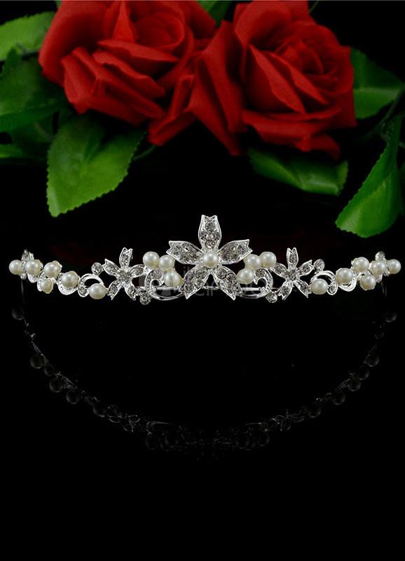 Buy Flower Wedding Tiara Pearls Decorated Rhinestone Headpiece for $11.99 in Milanoo store