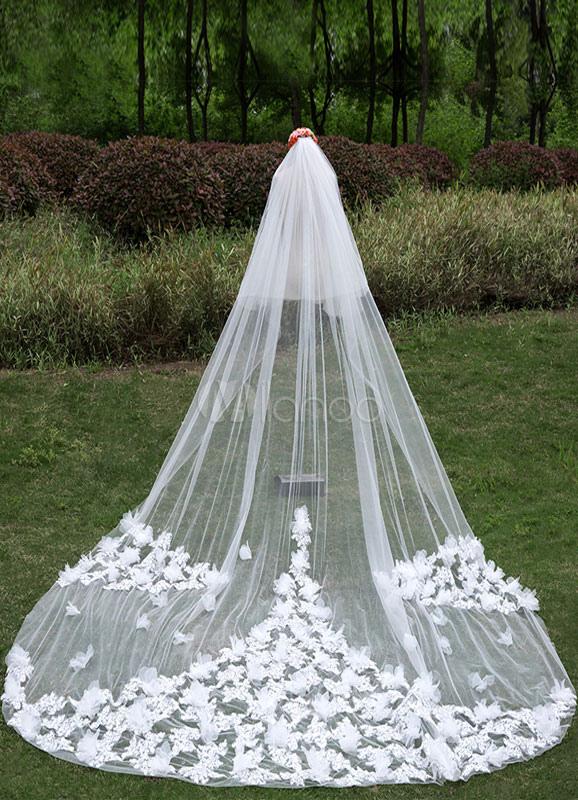 19ad00a84 Velos de novia Catedral doble flor lentejuelas velos de cascada de borde de  corte con peine ...