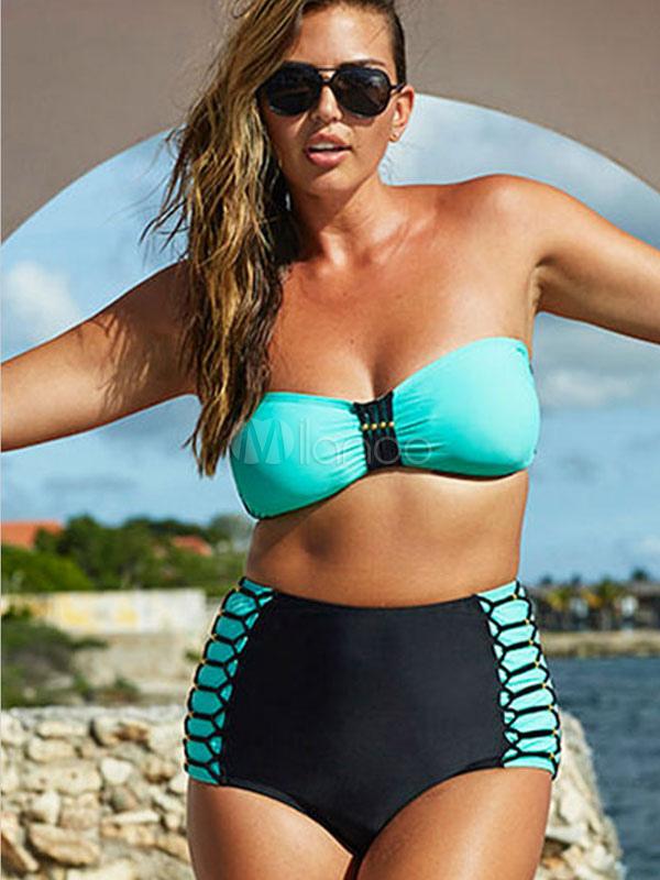 Bikini senza spalline blu vintage poliestere costume da - Le donne in bagno ...