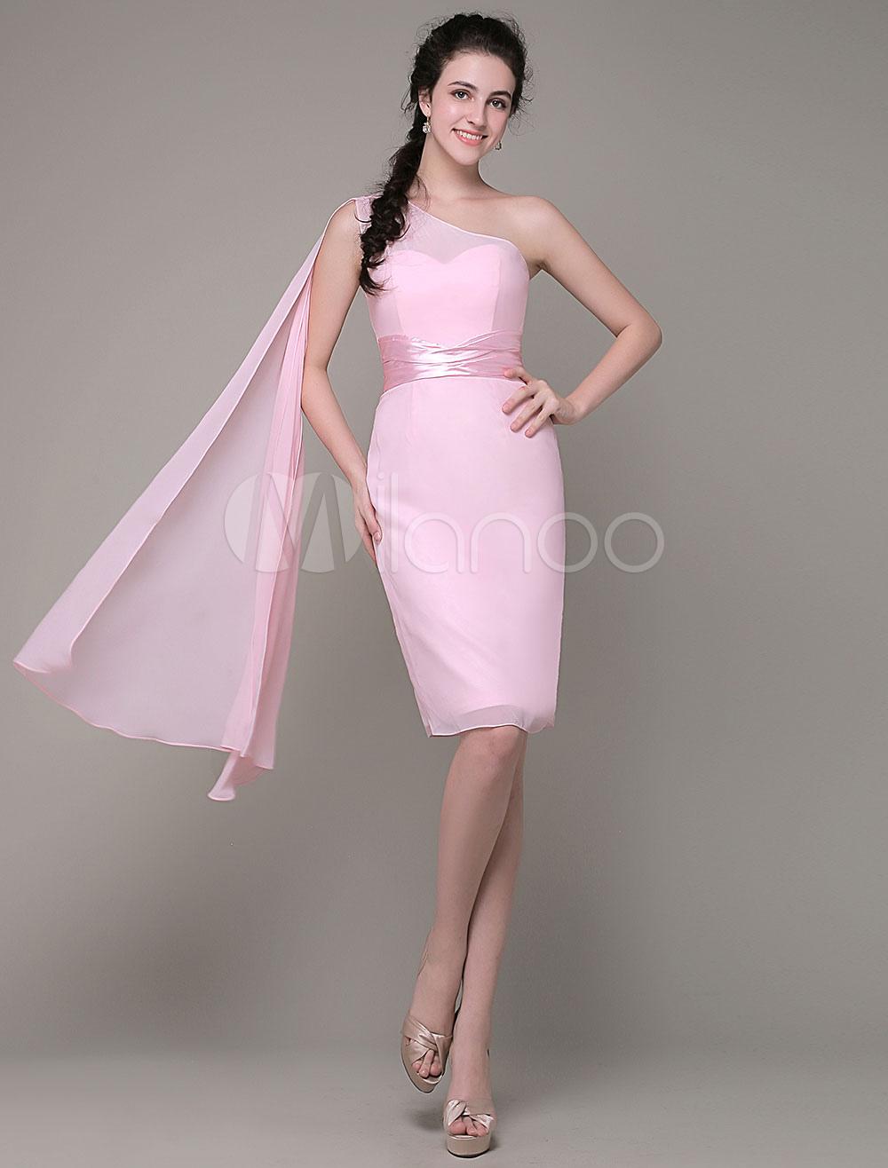 One-Shoulder Bridemaid dress Sheath Chiffon Pleated Knee-Length Party Dress Milanoo