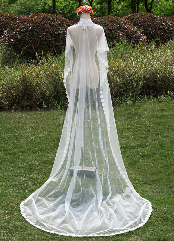 Cathedral Wedding Shawl High Neck Lace Beading One-Tier Waterfall Wraps With Cut Edge(300cm Length)