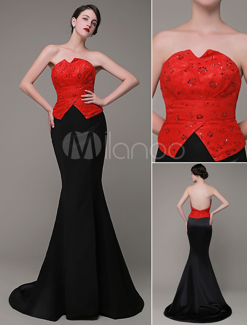 Buy Mermaid Evening Dress Strapless Lace Beading Pleated Chaple Train Prom Dress Milanoo for $136.79 in Milanoo store