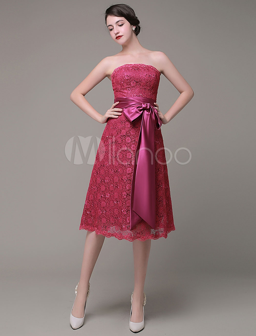 Buy Strapless Bridesmaid Dress A-Line Lace Sequined Satin Sash Bow Knee-Length Homecoming Dress Milanoo for $108.89 in Milanoo store