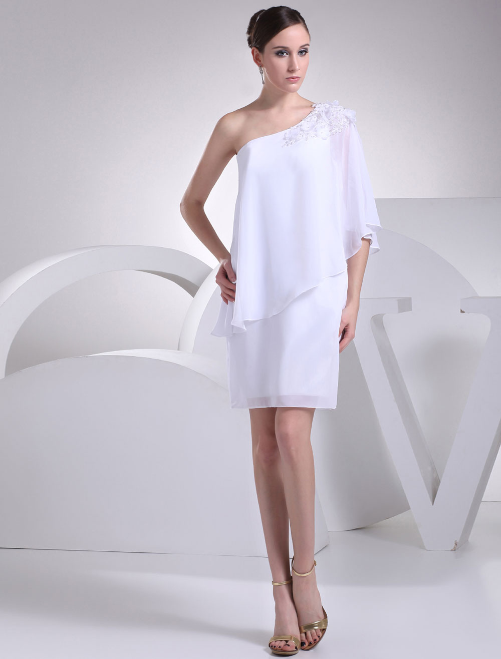 White Bridesmaid Dress One-Shoulder Applique Beading Flower Sheath Knee-Length Wedding Party Dress