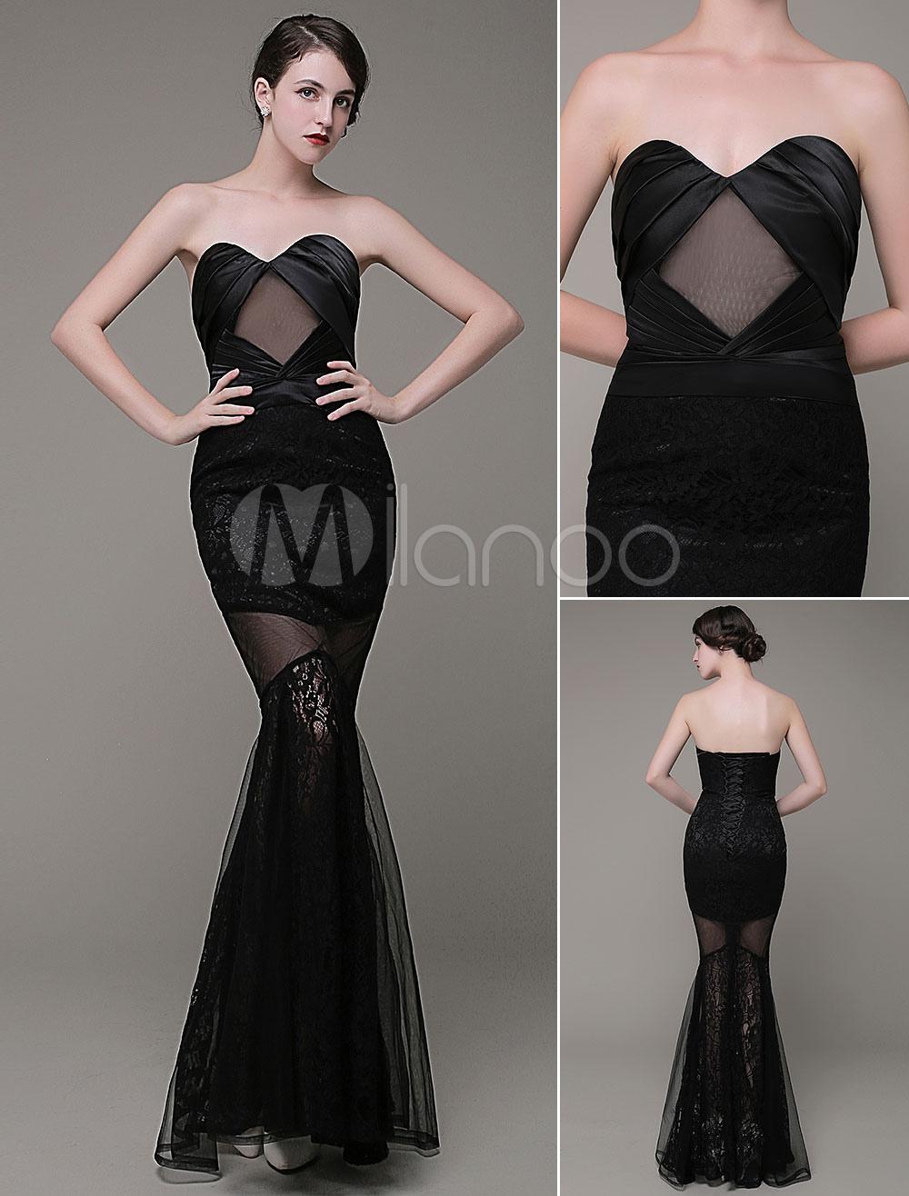 Mermaid Evening Dress Satin Sweatheart Pleated Iluusion Lace Flower Length Prom Dress Milanoo