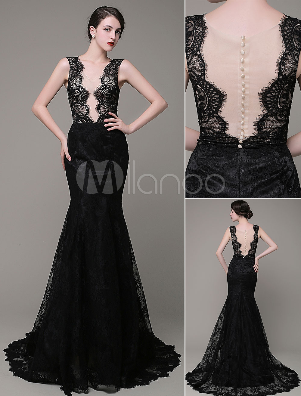 Mermaid Evening Dress V-Neck Lace Illusion Backless Court Train Celebration Dress Milanoo
