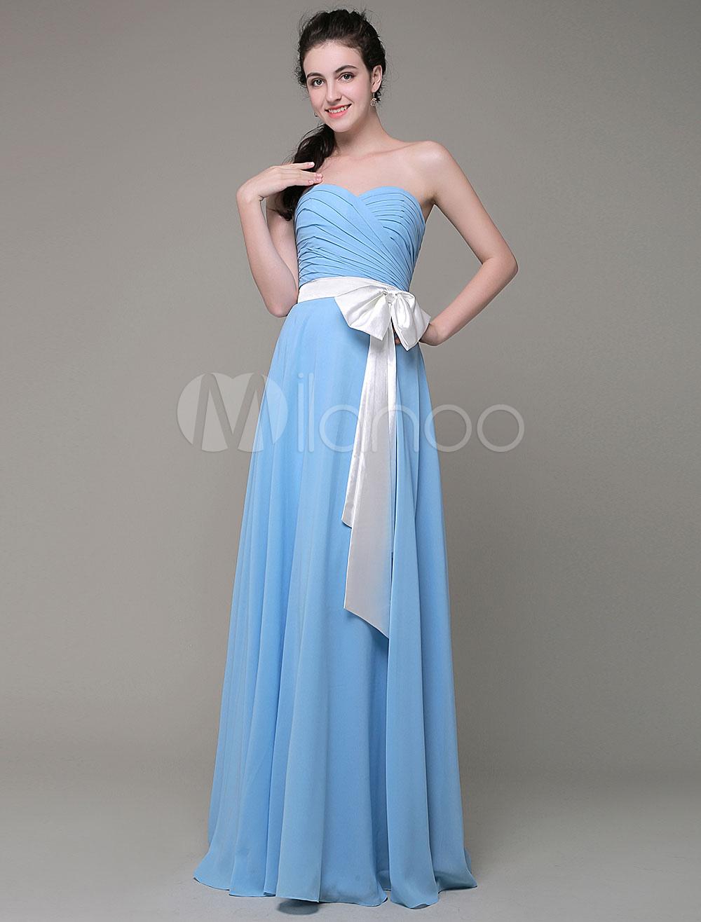 Sweatheart Bridesmaid Dress A-Line Chiffon Pleated Floor Length With Sash Bow Milanoo