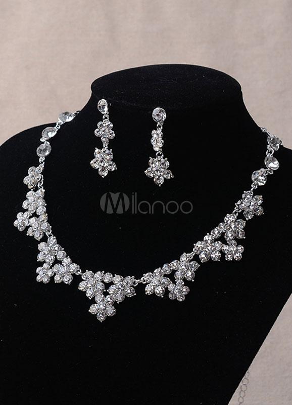 93f94d535589f Silver Women Jewelry Rhinsestone Triangle Sterling Evening Jewelry Sets