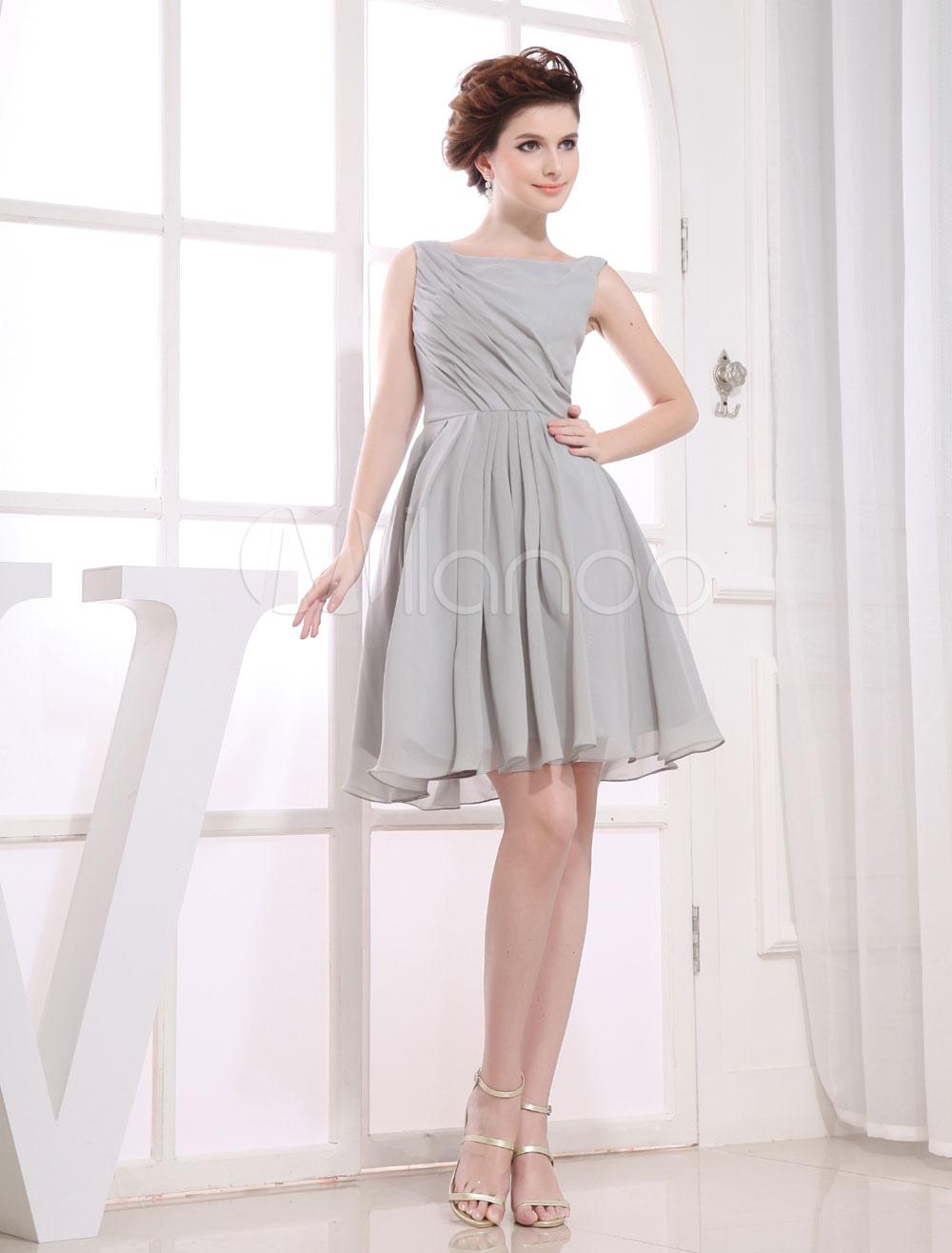 Short Bridesmaid Dress Bateau Chiffon Pleated A-Line Party Dress