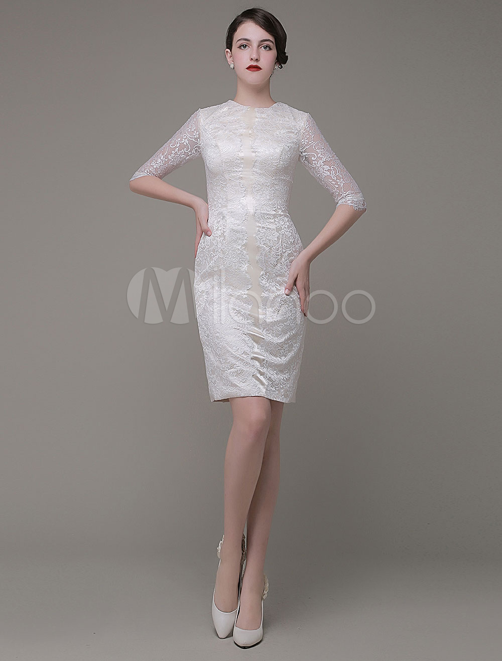 Buy Sheath Mother Of The Bride Dresses Jewel Knee-Length Lace Party Dress Wedding Guest Dress Milanoo for $111.99 in Milanoo store