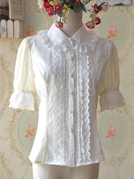 Short Sleeves Blouse with Ruffles and Lace Trim