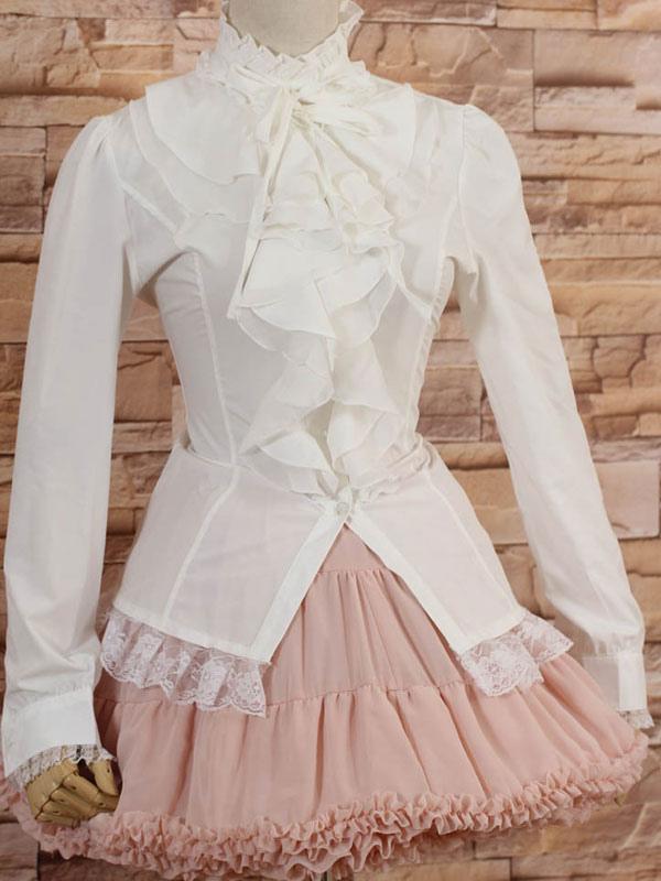 e74469c882 ... Mangas compridas de gola alta branca Lolita blusa com babados-No.2 ...