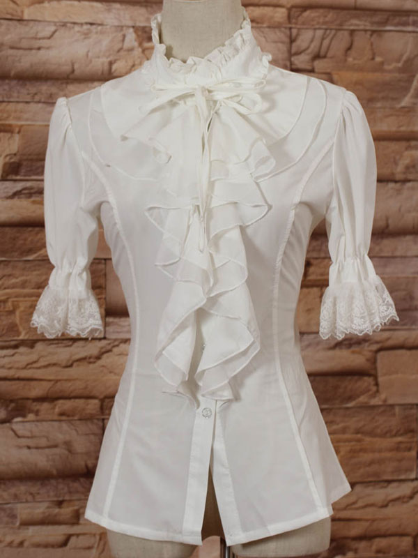 White High Collar Lolita Blouse Middle Sleeves with Ruffles