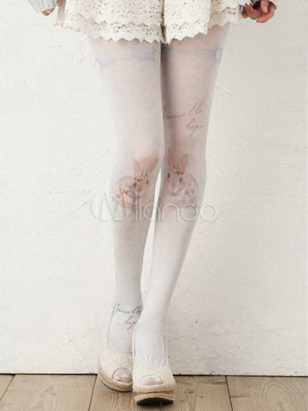 Sweet Spring Lolita Tights with Cute Bunny Print