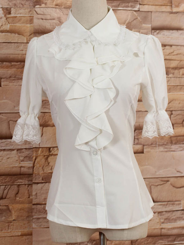 White Middle Sleeves Lolita Blouse with Lapel and Ruffles