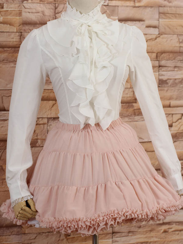 White High Collar Lolita Blouse Long Sleeves with Ruffles