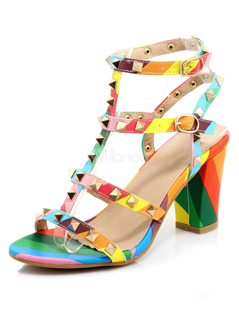 Buy Gladiator Rivets Sandals Multicolor Straps PU Heels for Women for $47.69 in Milanoo store