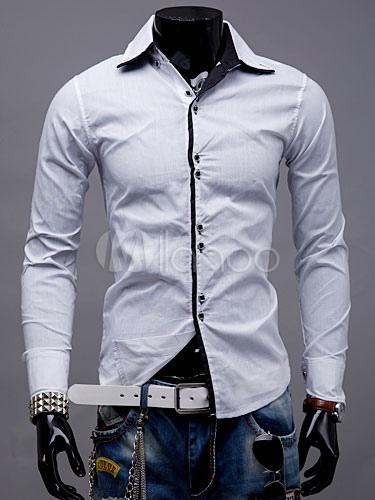 White Shirt Men Long Sleeve Cotton Top Turndown Collar Casual Shirt