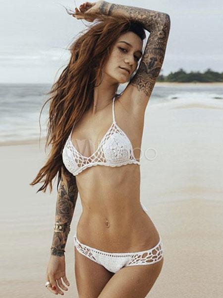 Buy Crochet Monokini Halter Straps Bikini White Polyester Swimsuit For Women for $16.14 in Milanoo store