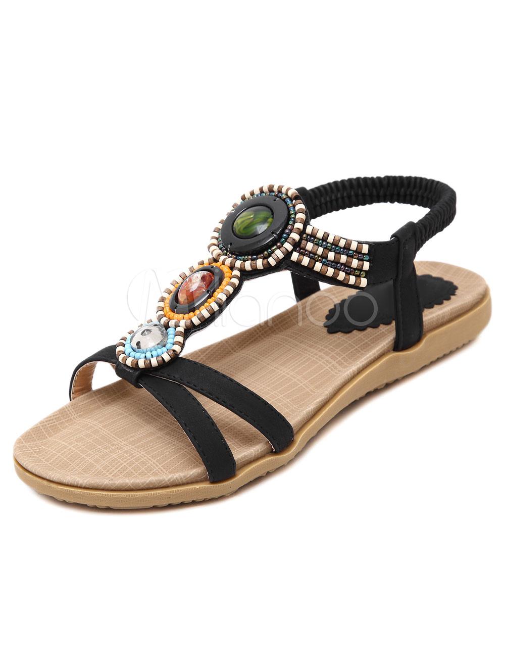 Milanoo / Bohemian Black Flats Beaded PU Sandals for Women