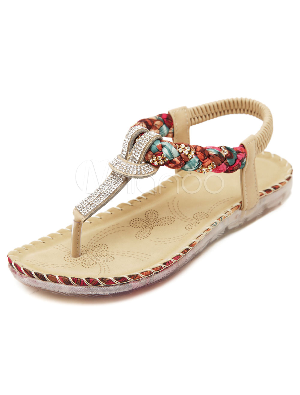 Buy Apricot Flip Flops Boho Flat Sandals Thong Rhinestone Sandal Shoes for Women for $26.09 in Milanoo store