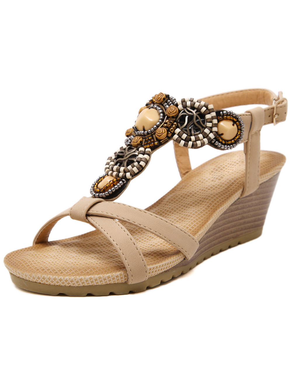 Apricot Wedge Sandals Beaded Bohemian PU Sandals for Women