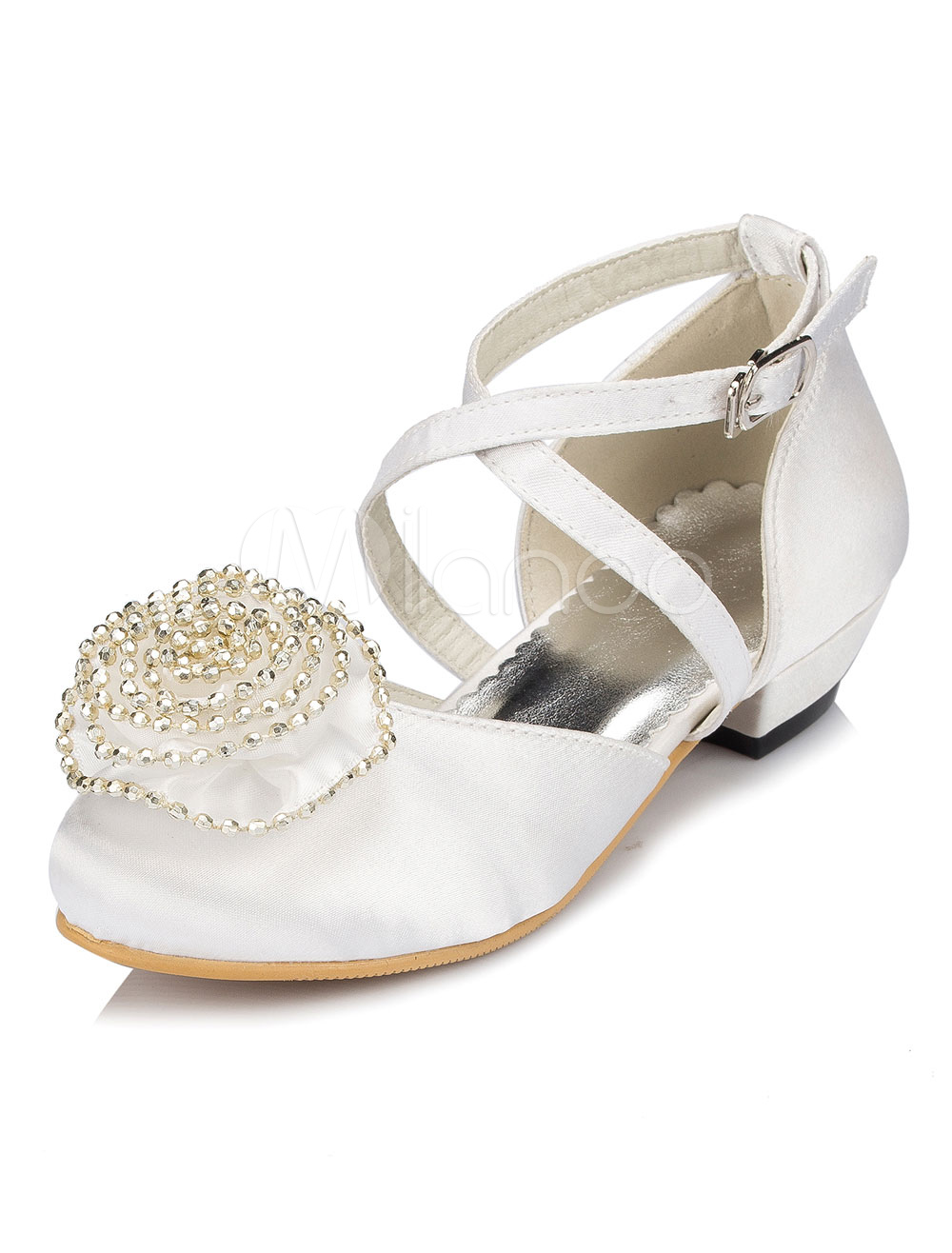 White Flower Girl Sandals Flower Chic Cross Straps Satin Shoes
