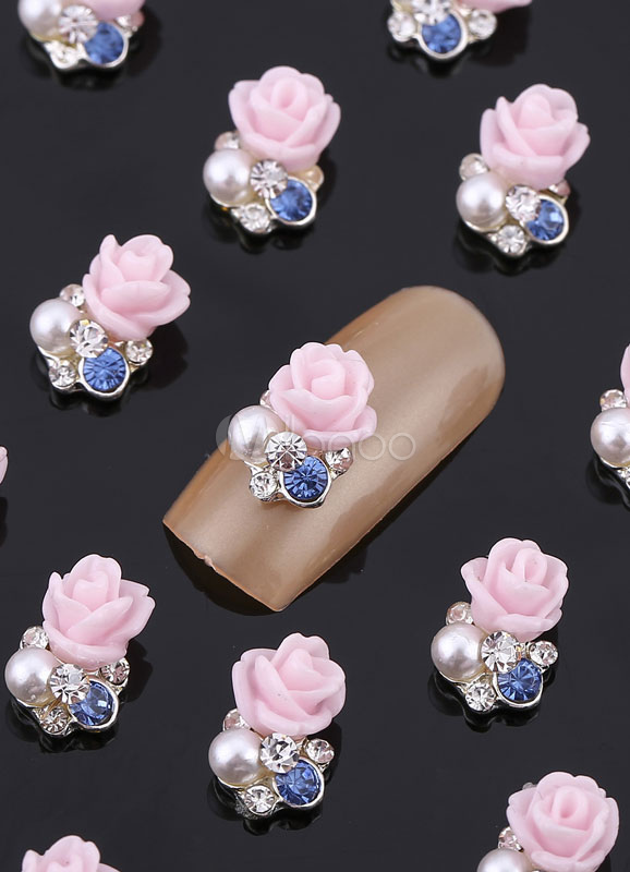 Multi Color Nail Art Flower Rhinestone Nail Accessories for Women