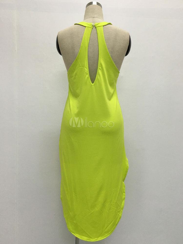 Milanoo / High-Low Asymmetric Dress Cut Out Halter Cotton Blend Dress