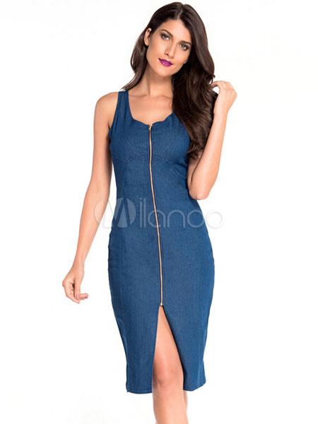 Buy Blue Split Front Bodycon Dress Zipper Denim Midi Dress for $35.99 in Milanoo store