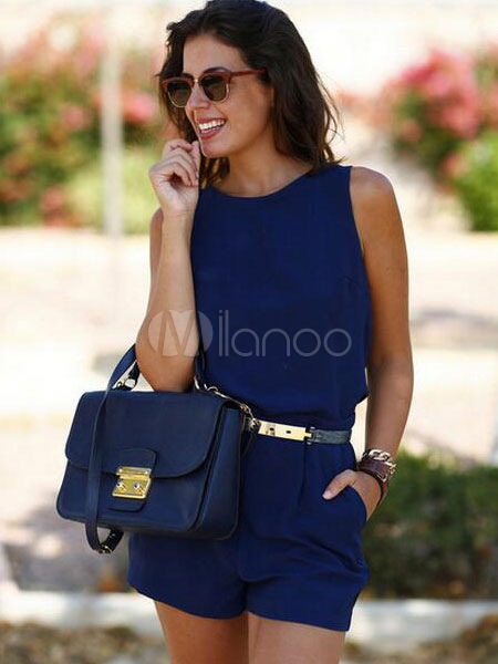 Buy Deep Blue Romper Backless Sash Cotton Romper For Women for $23.99 in Milanoo store