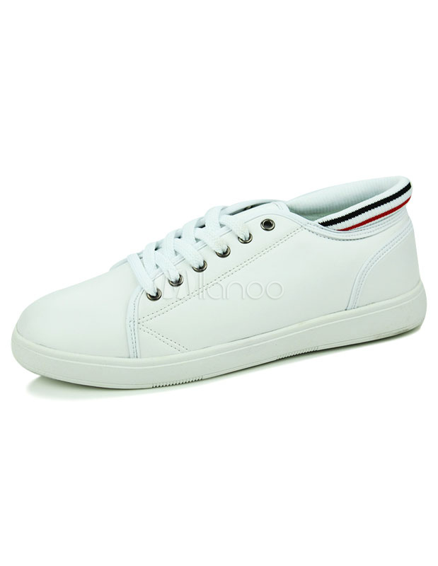 White Sneakers Lace Up PU Casual Shoes for Men