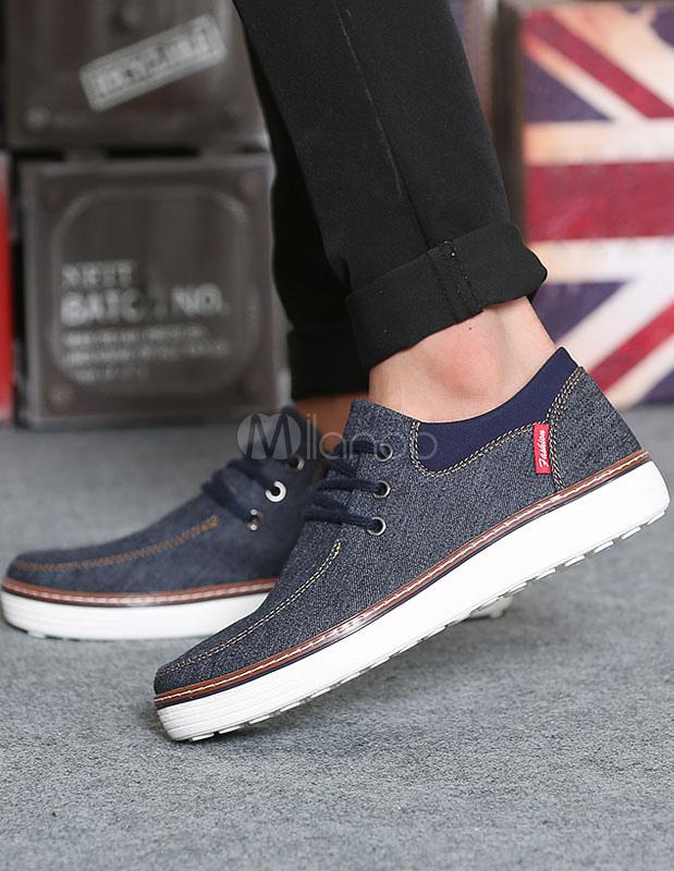 De Hombres Ata Tela Vaquera Zapatos Para g76fyb